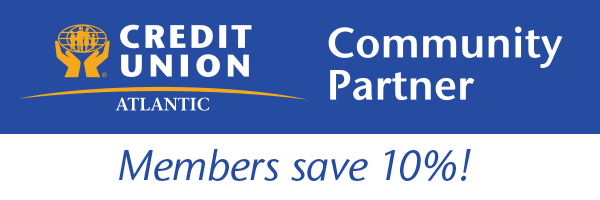 Credit Union Atlantic Community Partner logo and discount message of up to 10% off for CUA members.