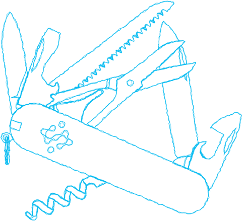 Rough contour drawing of a Swiss Army knife
