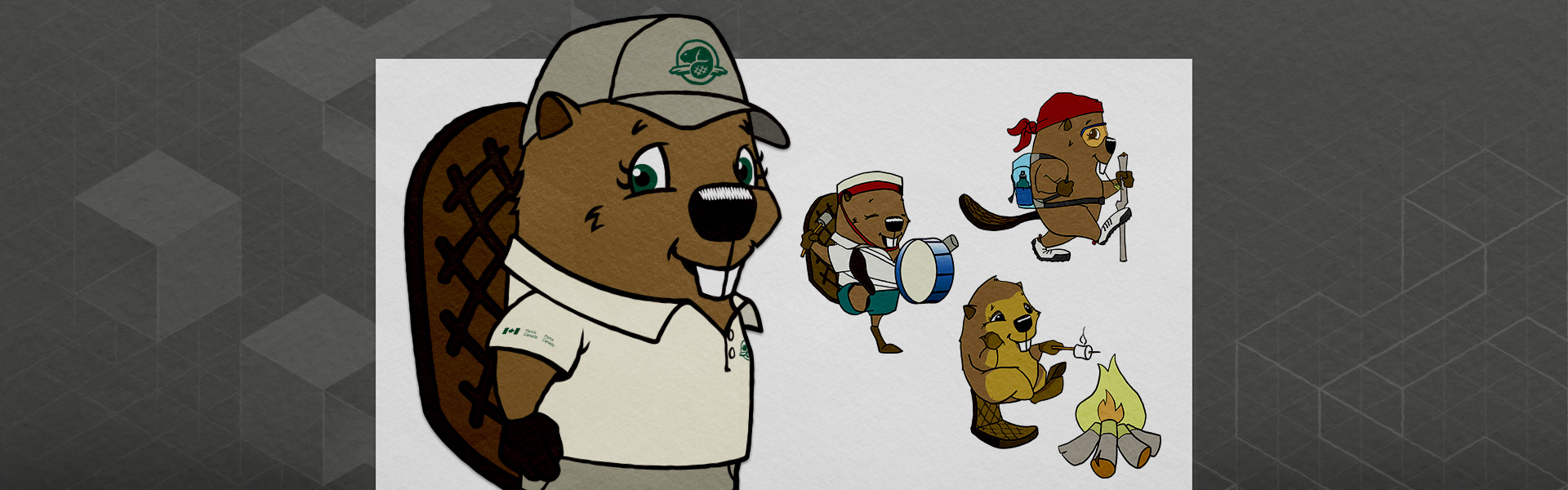 Illustration showing four illustrations of a cartoon girl beaver character, named Parka: one plain standing pose, one of her actively drumming, one where she's hiking and one by the campfire.