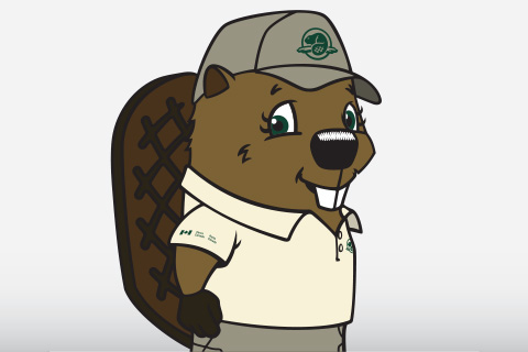 Illustrated beaver mascot for Parks Canada