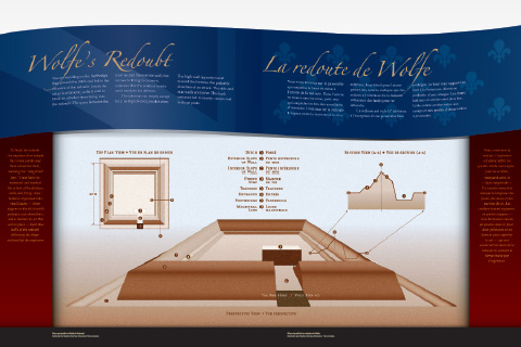 Parks Canada illustration of Wolfe's Redoubt at Fortress of Louisbourg National Historic Site