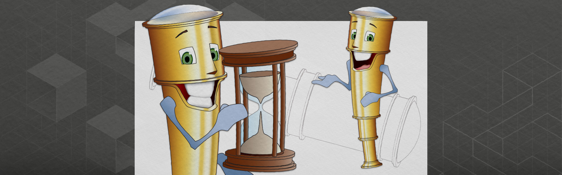 Illustration showing two samples of a cartoon telescope character, named Tully.