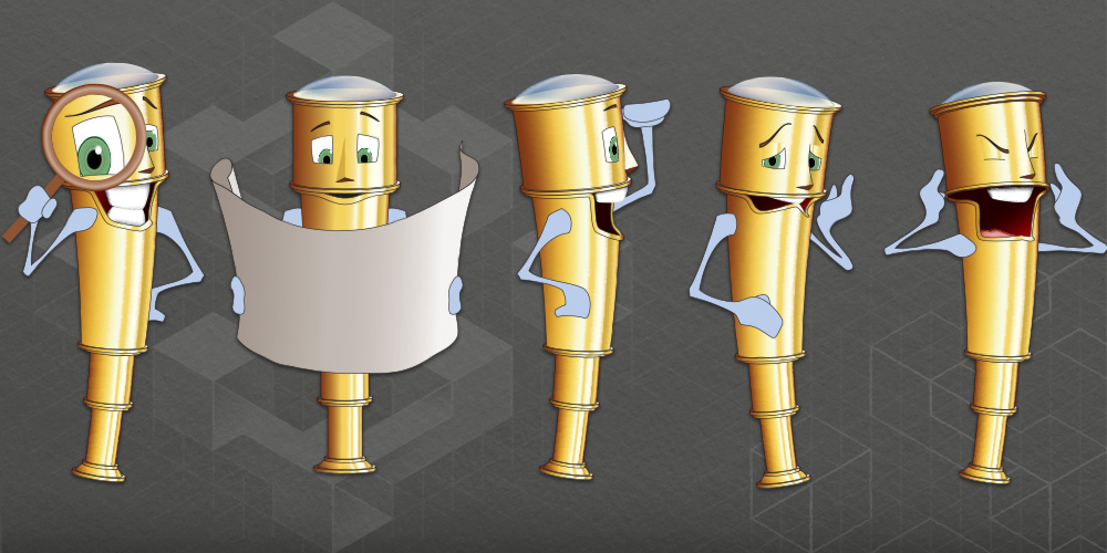 Image with five illustrations of the Tully the Telescope character, each with a different expression.