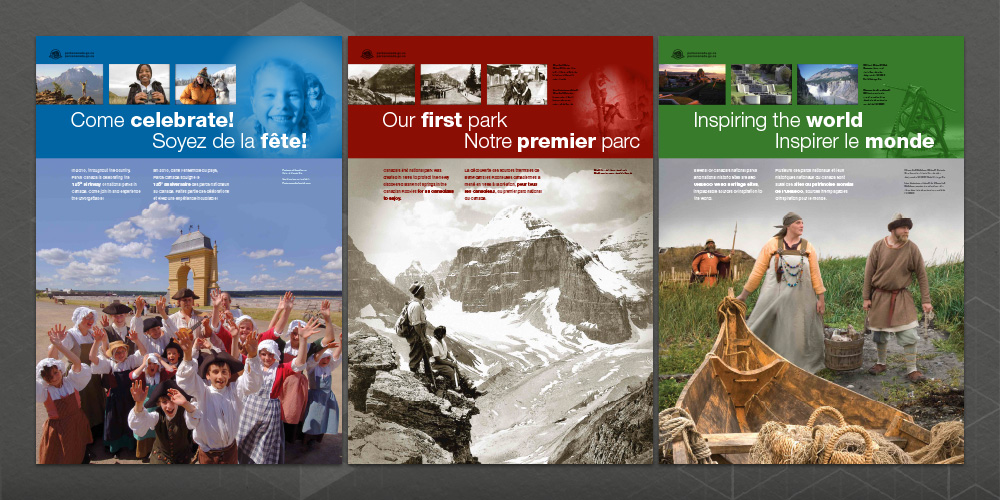 "Posters 1-3 from the ""Pylon Project"" commemorating Parks Canada's 125th anniversary"