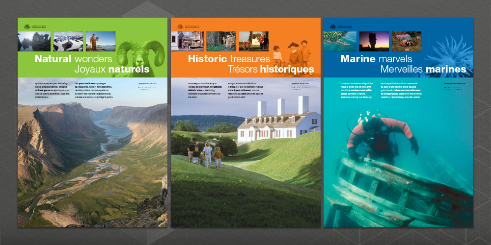 "Posters 4-6 from the ""Pylon Project"" commemorating Parks Canada's 125th anniversary"