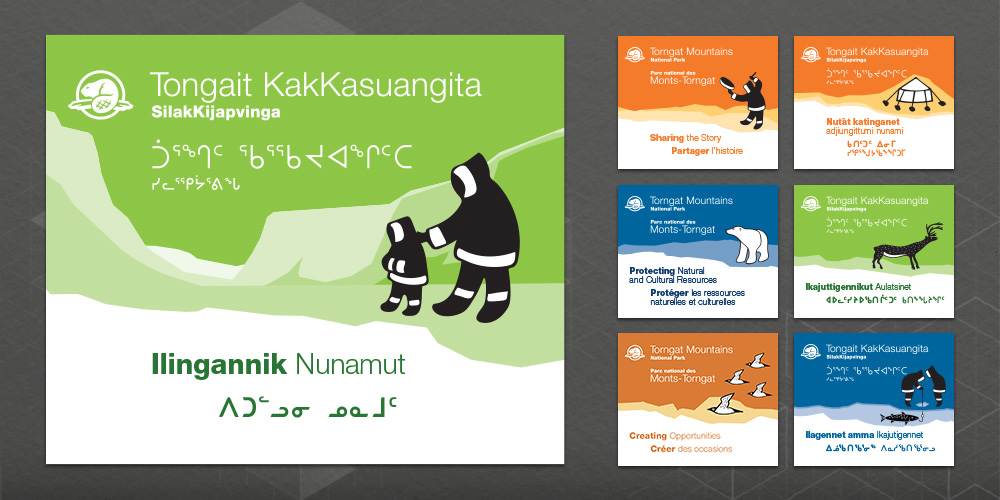 Series of simple graphic banners with solid colours and Inuktitut illustrations