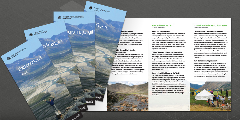 Image of set four of the same brochure, each in a different language, designed for Torngat Mountains National Park