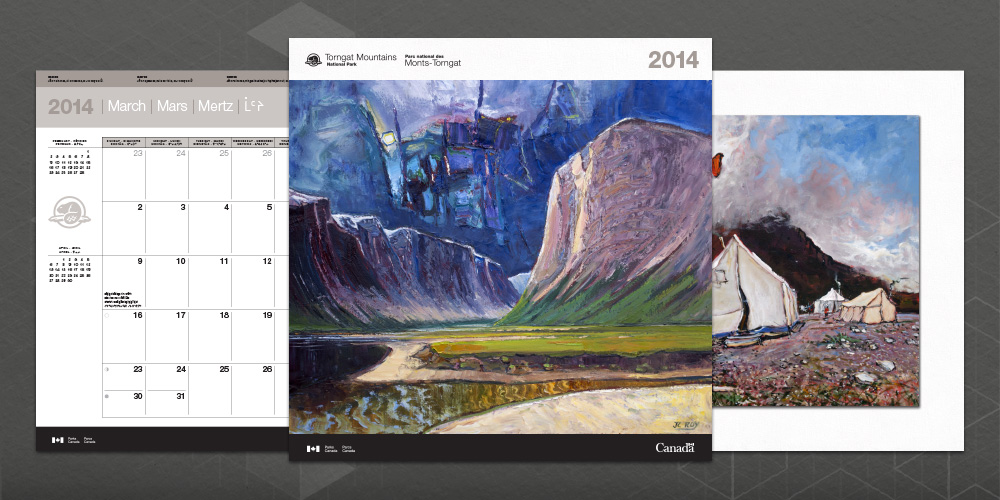 Image of a calendar cover with two sample interior pages, designed for Torngat Mountains National Park