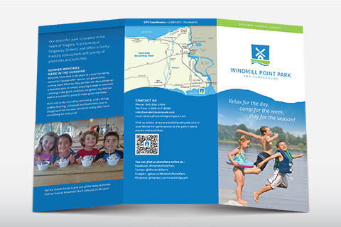 Exterior spread of a tri-fold  brochure for Windmill Point Park