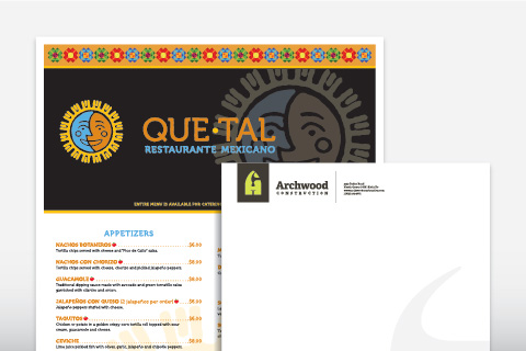 Templates samples for a restaurant menu and a letterhead