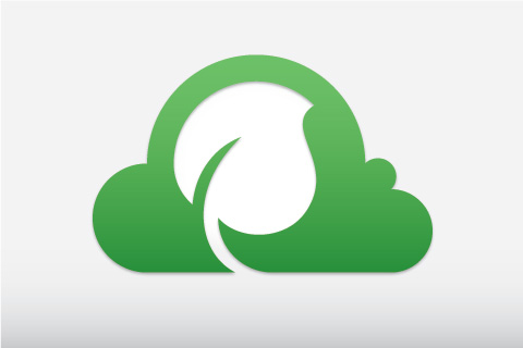 Graphic illustration of green cloud with a leaf – figuratively representing eco-friendly web hosting