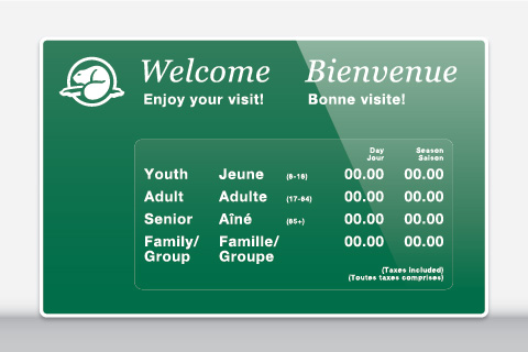Exterior fees sign sample for Parks Canada