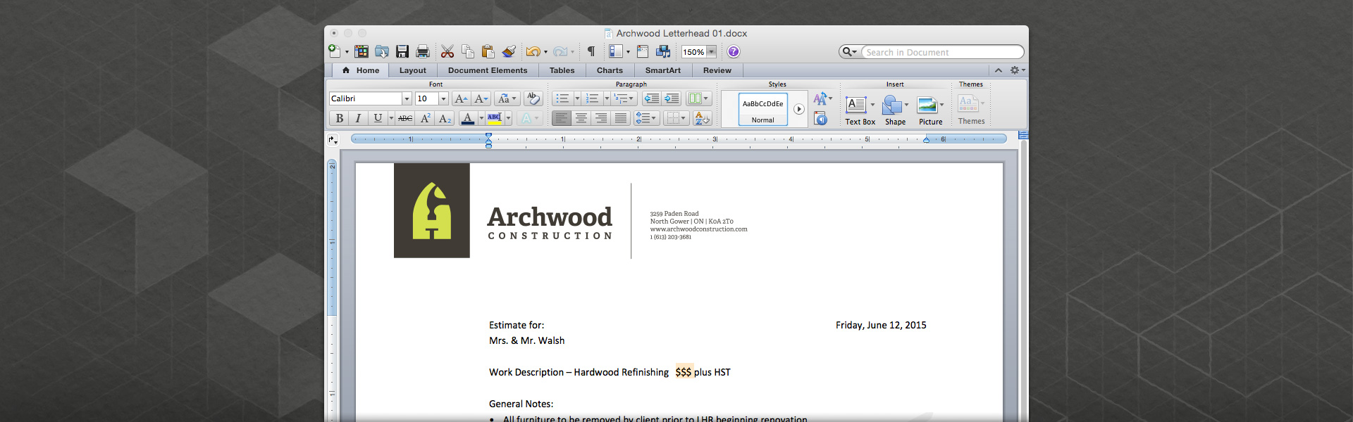 Screen shot of the Archwood Construction MS Word letterhead template.