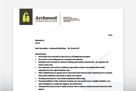Archwood Construction stationery package
