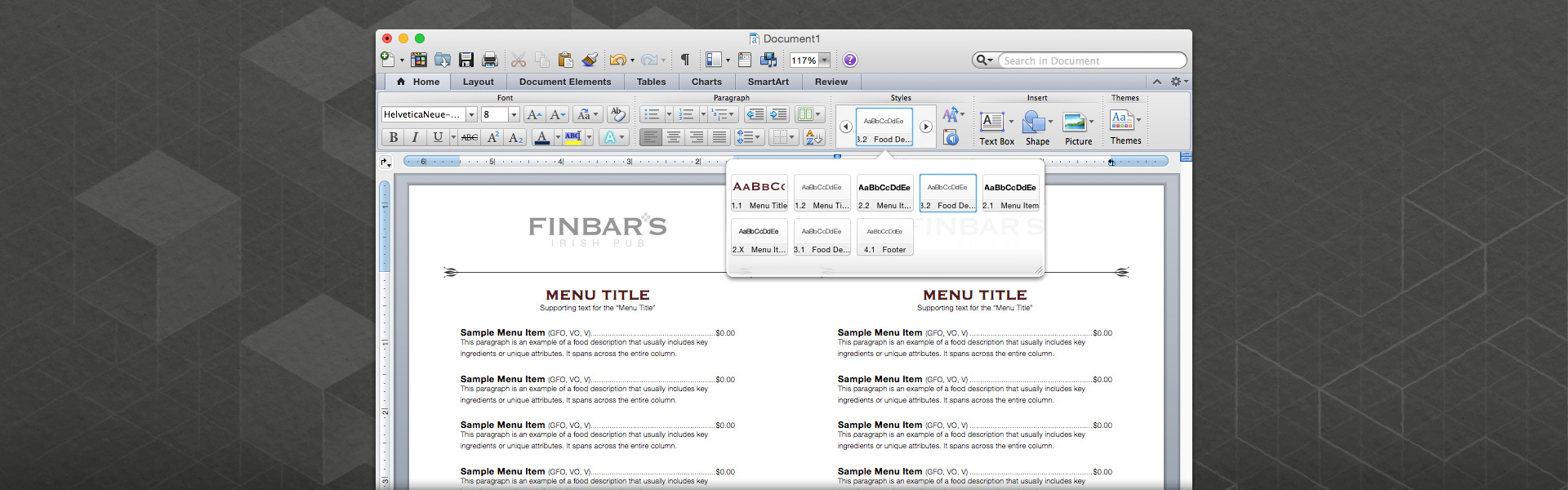 Screen shot of an MS Word template for the table-top food menu at Finbar's Irish Pub. The image also shows the set of paragraph styles that were built into the file.