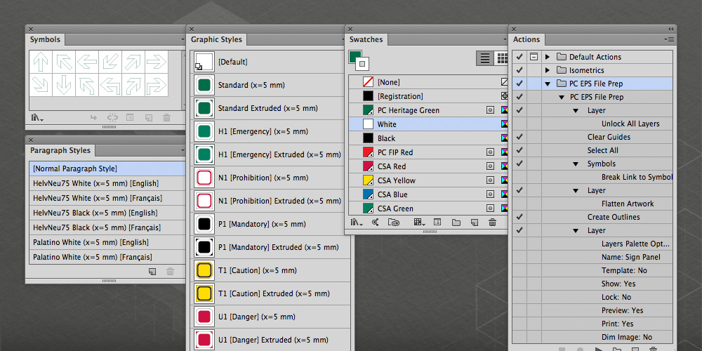 Application palettes from Adobe Illustrator, highlighting areas that were customized for this template.