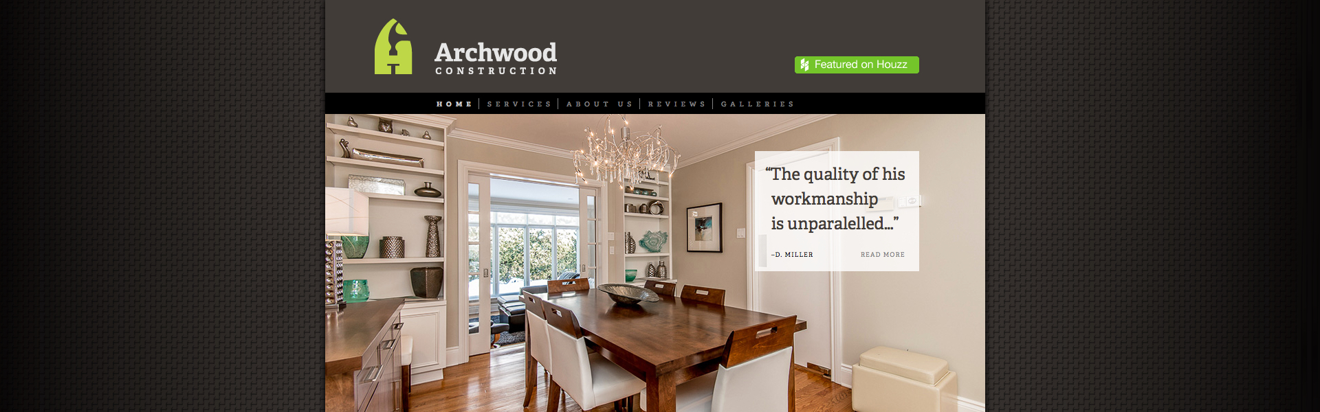 Screen grab of the Archwood Construction website.