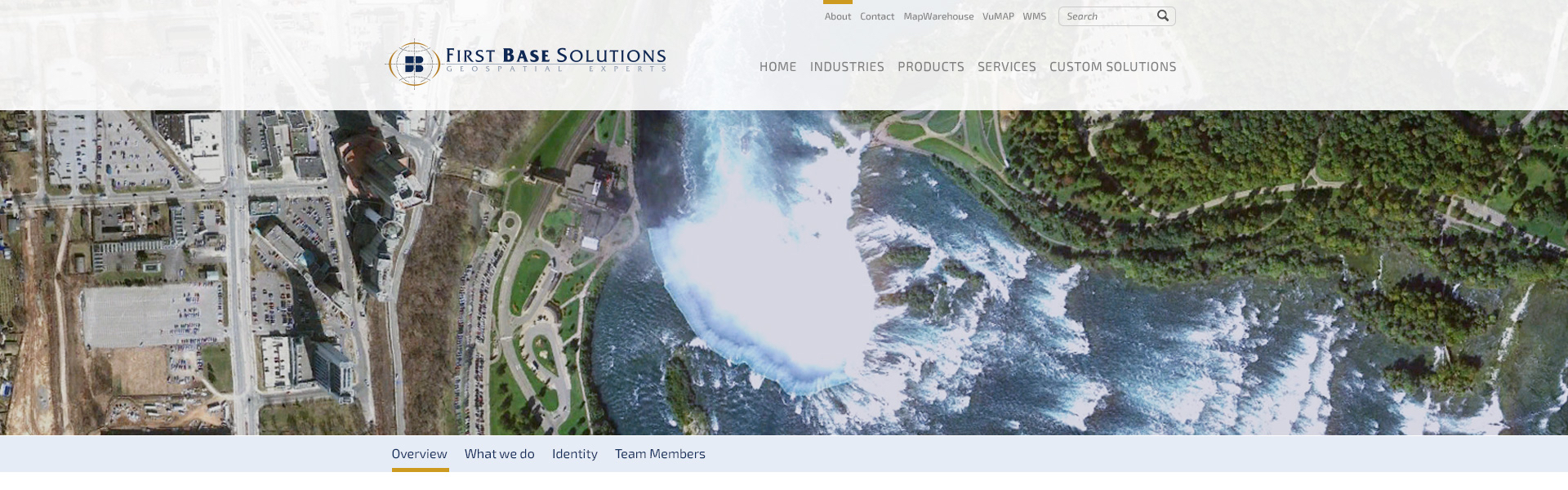 Sample screen grab of the First Base Solutions website design before handing concept files over to their in-house developer.